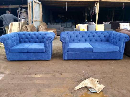 New blue Chesterfield sofa image 1