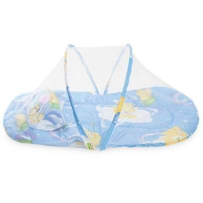 Collapsible Mosquito Insect Net Soft Cushion for Babies-BLUE image 1