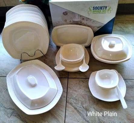 40 pcs Square Melamine Society Food Grade Dinner Sets Design # White Plain image 1