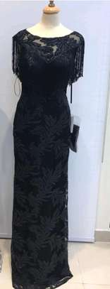 Black embroidered long evening dress