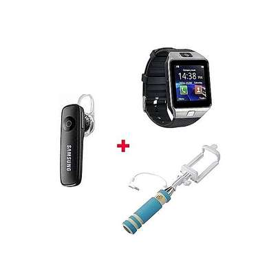 Smart Watch Phone With Free Bluetooth headset & Selfie Stick - Silver Black image 1