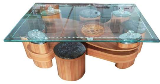 Brown puff Coffee table image 1
