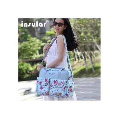 Insular Pattern Diaper Bag Muti-Function Water-Proof Travel Baby Nappy Changing Tote Bag Large Capacity Mummy Handbags- Blue image 2