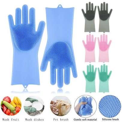 *New multi- purpose  silicone washing gloves image 1
