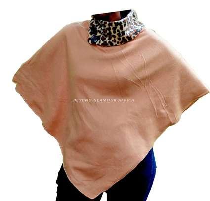 Womens Brown animal print cotton poncho with soft shawl image 2