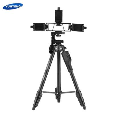 YUNTENG VCT-6808 Multi-functional Tripod for Phone with 3 Phone Holders 4-Section Telescoping Tripod Ball Head Remote Controller image 1