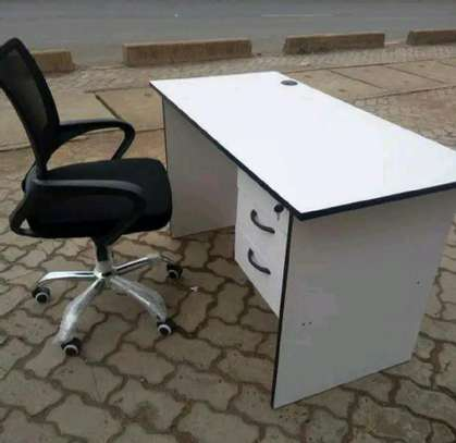 Laptop desk for small spaces and an adjustable swivel black chair image 1