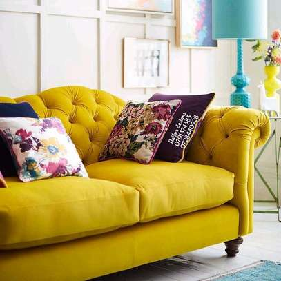 Yellow seats/velvet sofas/tufted three seater sofa image 2