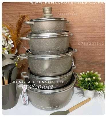 10 piece silver Gold Bosch Granite cookware set image 1