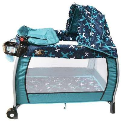 Baby playpen bed baby crib with changing table & canopy- T.Blue image 1