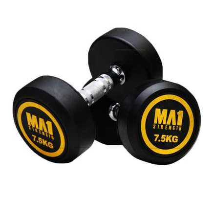 (Hexagon Shaped and Rubber Round Dumbbells Gym Fitness image 4