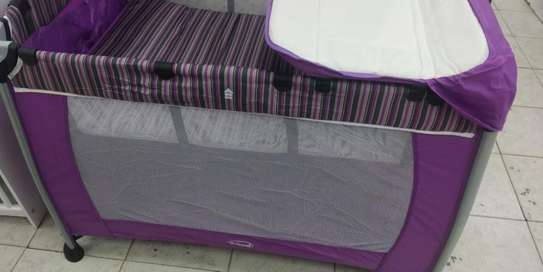 Baby Playpen Baby Crib Baby Bed with Changing Table - Purple image 1