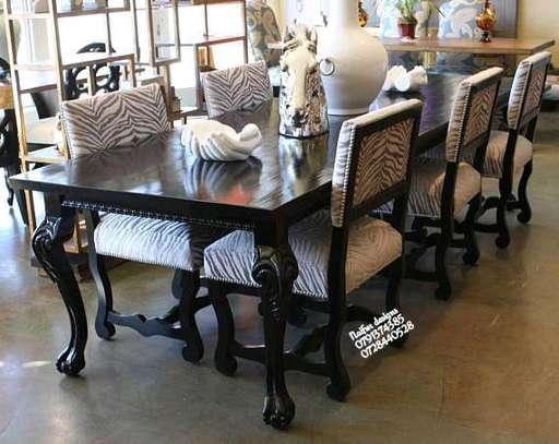 Six seater wood dining set image 1