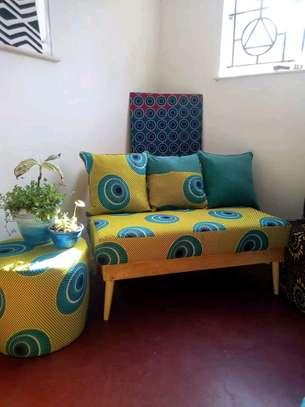 Ankara/Kitenge benches with 3 back cushions and pouf image 3