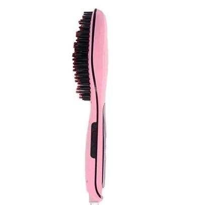 Professional Hair Straightener Comb Brush LCD Display - Pink image 3