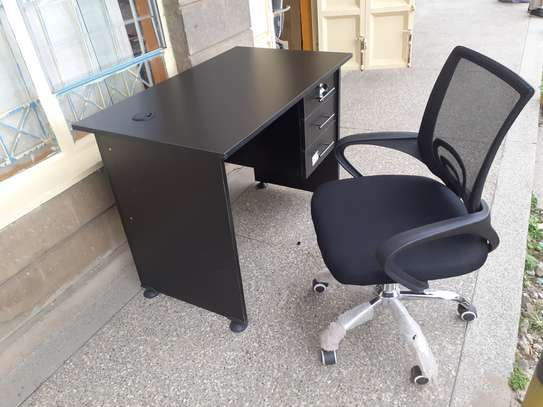 Office Desk 1Meter Black & Chair Ksh. 12,500.00 With Free Delivery image 3