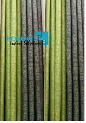 linen grey and green curtains image 1