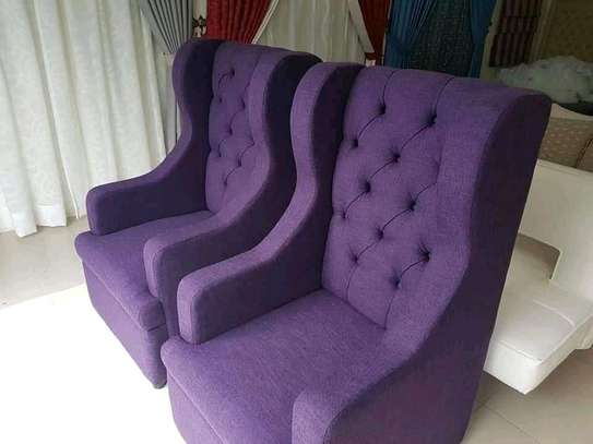 Gorgeous Stylish Contemporary Quality 2 Wingback Chairs image 1
