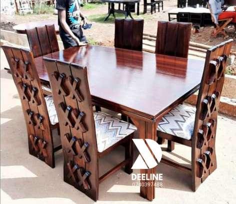 Rectangular 6 Seater Mahogany Framed Dining Sets image 4