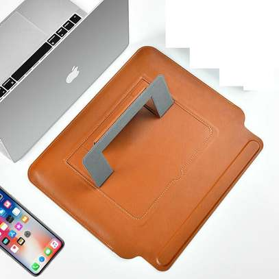 Leather Sleeve Laptop Bag With Stand Holder Computer image 1