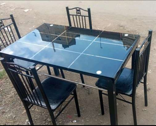 Tempered glass top dining table with metal legs C04K image 1