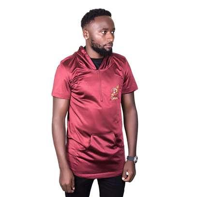 Maroon Hooded Tshirt image 1