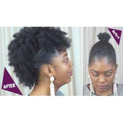 Frohawk extension afro puff