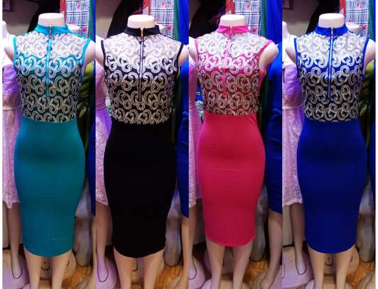 High V-Neck Lace 2 In 1 Bodycon Dress image 1