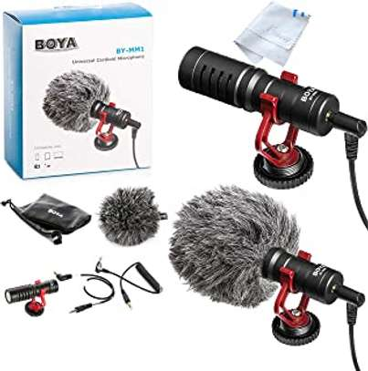 BOYA by-MM1 Shotgun Video Microphone, Cardiod Microphone Directional Condenser Mic Vdeomicro, w/Shock Mount Windscreen TRRS TRS, forAndoid Smartphone, Canon, Nikon, Sony Camera and Camcorders by BOYA image 1