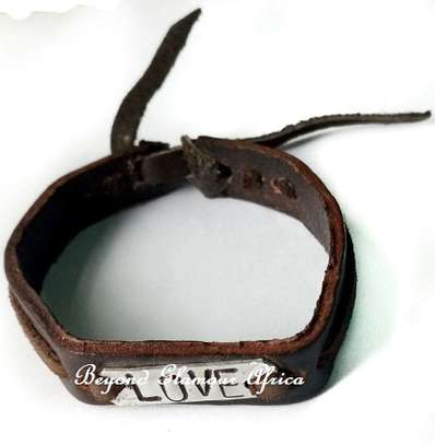 Leather Bracelet With Love Engraved image 1