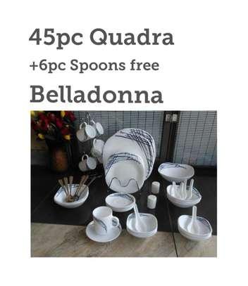 45pc Quadra Dinner Set + 6pc spoons free image 1