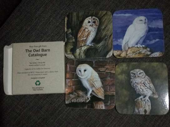 The Owl Barn - set of four coasters image 1