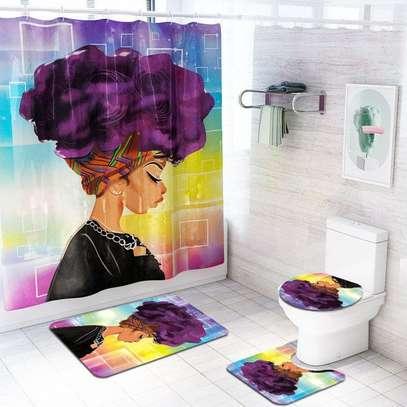 Bathroom Curtain and 2 Mats Set - Curtain - 6x6ft image 3