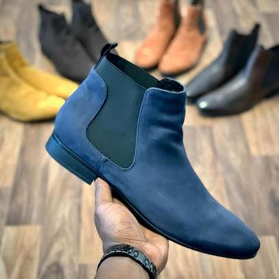 Blue classy men's genuine leather official boots image 1