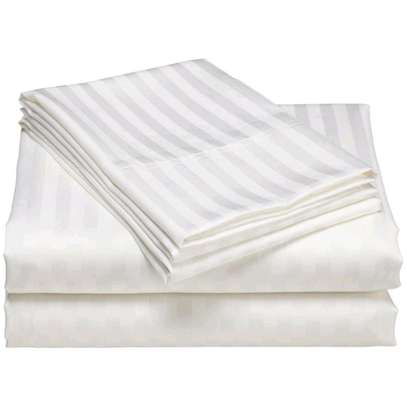 Cotton White Striped Bedsheets, pure white image 1