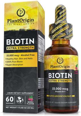 Extra-Strength 15000mcg Biotin Liquid Vitamin Drops - Supports Hair Growth, Glowing Skin & Strong Nails, Alcohol-Free & Kosher, Organic Flavor & Coconut Oil - 5X Better Absorption, 60 Servings