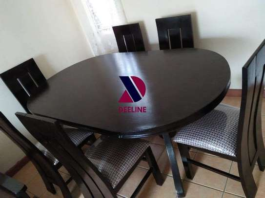 Black oval 6 seater dining table sets image 7