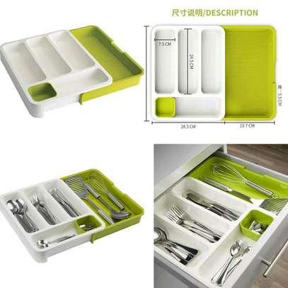 Plastic Expandable Cutlery Tray Drawer Storage Organizer image 5