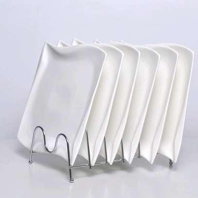 Ceramic square shapely rectangle plates image 1