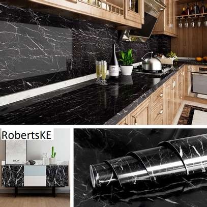 Kitchen counter waterproof marble wallpapers. image 1