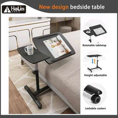 Movable sit stand adjustable laptop table image 1