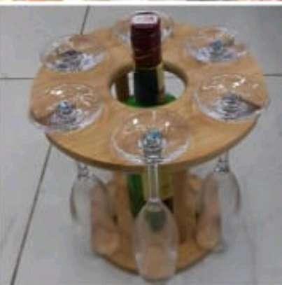 Wine glass holder wooden image 1