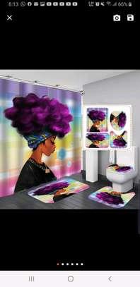Bathroom curtain mat sets image 5