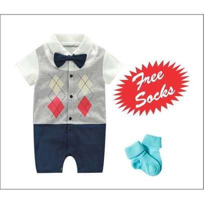 Fashion Cute Baby Toddler Bowknot checked short Sleeve Boys Romper Jumpsuit with FREE SOCKS. image 1