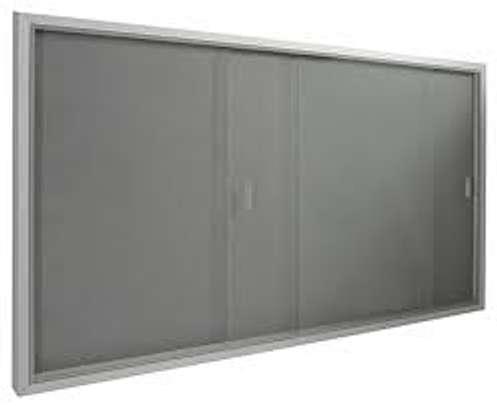 glass sliding noticeboard 5*4ft image 1