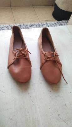 Brown casual ladies oxford flats