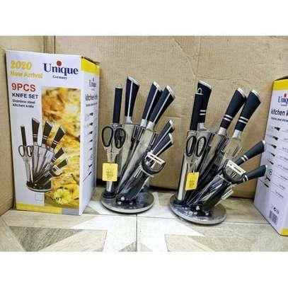 9PCs Stainless Steel Kitchen Cutlery Knife Set - Black image 1