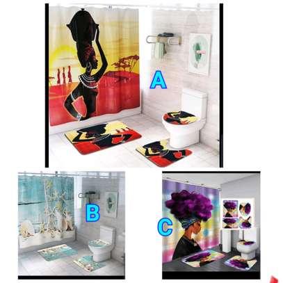 Bathroom curtain mat sets image 1