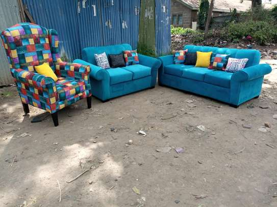5 seaters sofa set and a wingback chair