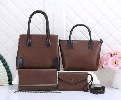 Brown 4 in 1 designer ladies quality handbags image 1